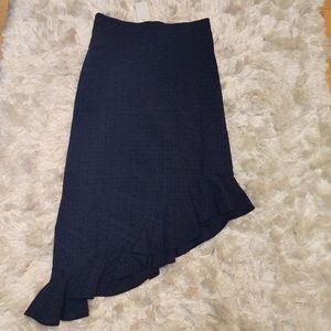 NWT asymmetrical eyelet Navy blue skirt sz xs